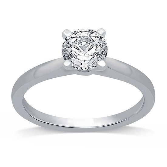 Ever Star Womens 1 1/4 CT. T.W. Lab Grown White Diamond 14K White Gold Round Solitaire Engagement Ring