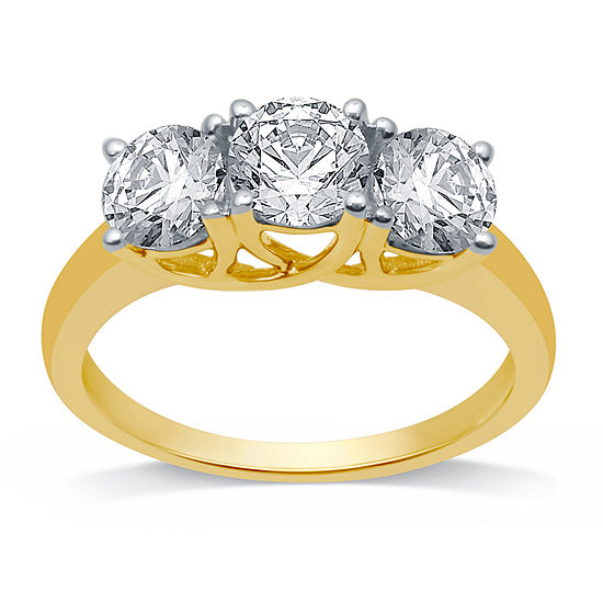 Womens 2 CT. T.W. Genuine White Diamond 10K Gold 3-Stone Engagement Ring