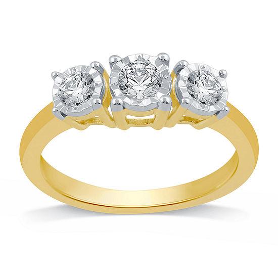 Womens 1/2 CT. T.W. Genuine White Diamond 10K Gold 3-Stone Engagement Ring