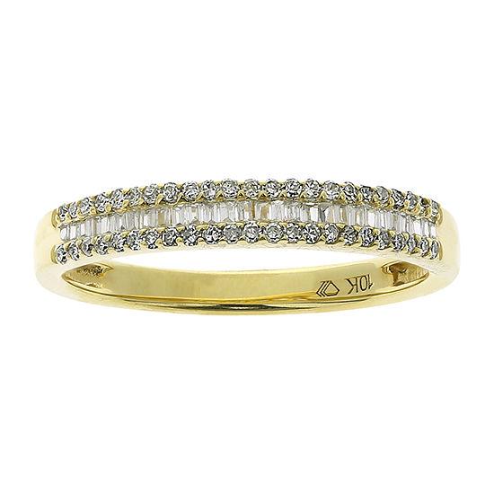Womens 1/4 CT. T.W. Genuine White Diamond 10K Gold Wedding Stackable Ring