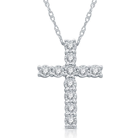 LIMITED TIME SPECIAL! Womens 1/10 CT. T.W. Genuine Diamond Sterling Silver Cross Pendant Necklace