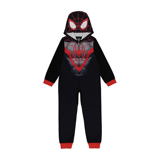 Disney Little & Big Boys Microfleece Spiderman Long Sleeve One Piece Pajama
