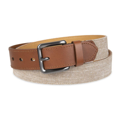 Dockers® Casual Linen Mens Belt With Leather Tabs