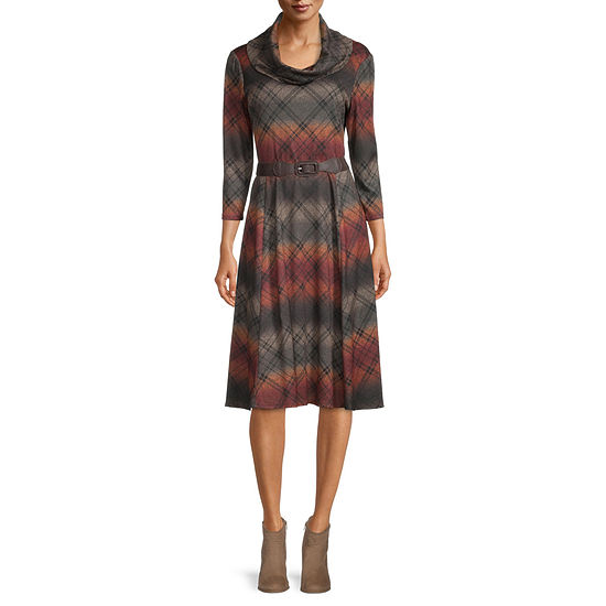 Robbie Bee 3/4 Sleeve Striped Fit & Flare Dress