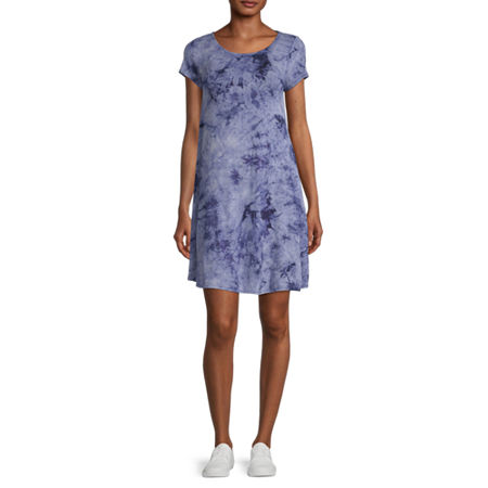 MSK Short Sleeve Tie Dye Swing Dresses, Medium , Blue
