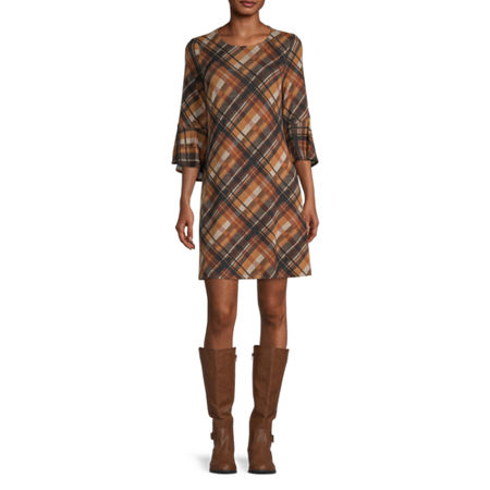 R & K Originals 3/4 Sleeve Plaid Shift Dress, Large , Brown