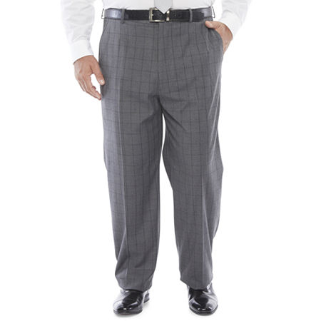 1920s Men's Pants, Trousers, Plus Fours, Knickers JF J.Ferrar Ultra Mens Checked Stretch Regular Fit Suit Pants - Big and Tall 44 30 Black $44.99 AT vintagedancer.com