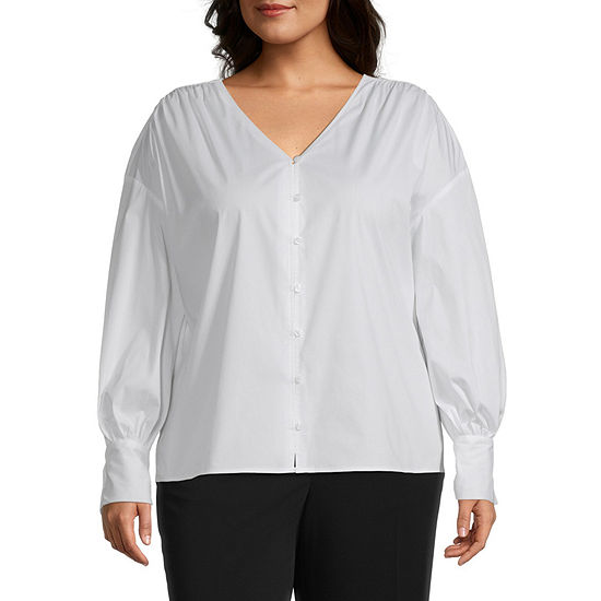 Worthington Womens Poplin Volume Sleeve Shirt - Plus