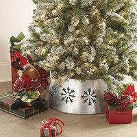 Deals on North Pole Trading Co.Snoflake Galvanized Christmas Tree Collar