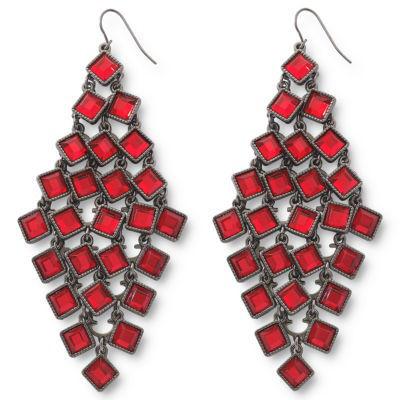 Red Square Chandelier Earrings