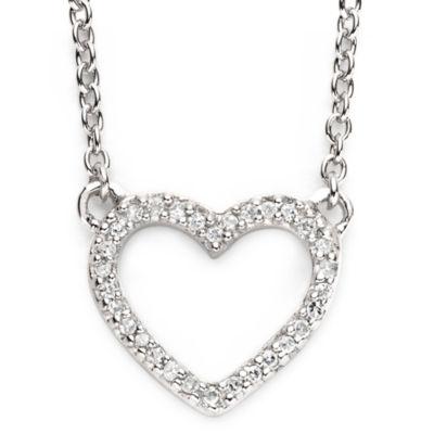 1/10 Ct. T.W. Diamond Sterling Silver Mini Heart Pendant Necklace