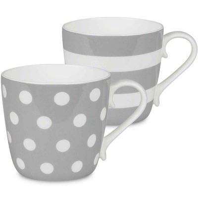 Konitz Dots and Stripes Set of 2 Bone China Mugs