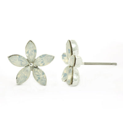 Sparkle Allure White Flower Stud Earrings
