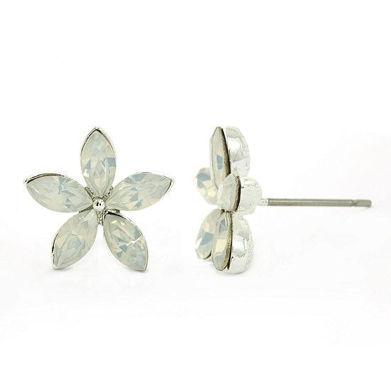 Sparkle Allure White 13.5mm Flower Stud Earrings