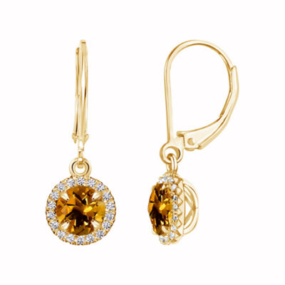 Yellow Citrine 14K Gold Over Silver Drop Earrings