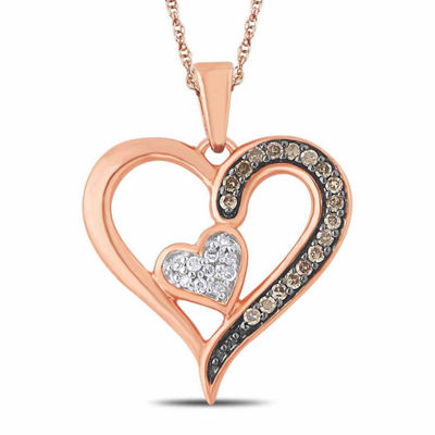 Womens 1/8 CT. T.W. Genuine White Diamond 10K Gold Heart Pendant Necklace