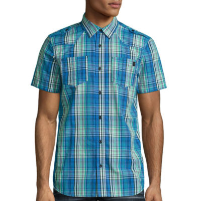 i jeans by Buffalo Short Sleeve Plaid Button-Front Shirt