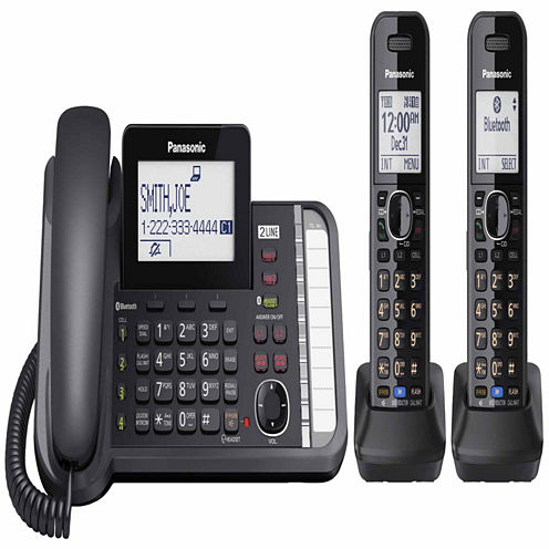 Panasonic KX-TG9582B Link2Cell DECT 6.0 2-Line Corded Phone with 2 Cordless Handsets - Black
