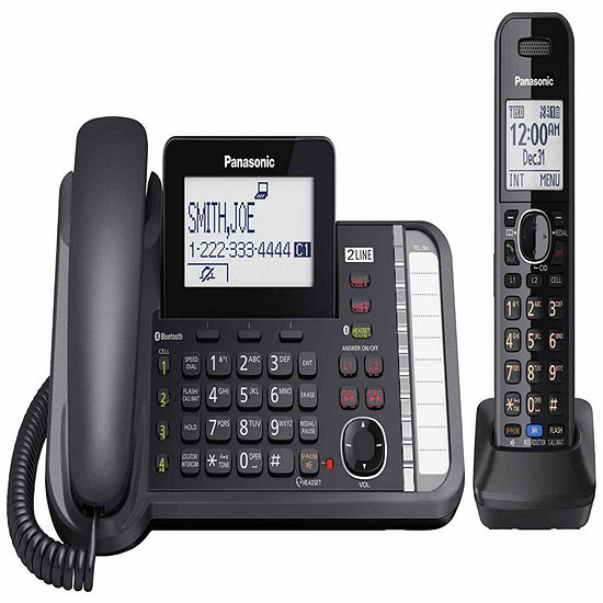 Panasonic Kx Tg9581b Link2cell Dect 60 2 Line Corded Phone With Cordless Handset Black