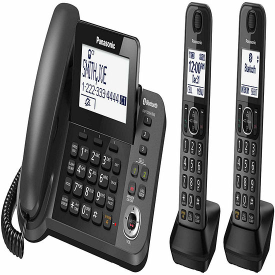 Panasonic Kx Tgf382m Link2cell Dect 60 Bluetooth Corded Phone With 2 Cordless Handsets Answering Machine Metallic Black