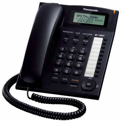 Panasonic KX-TS880B Integrated Corded Phone with Caller ID and Speakerphone - Black