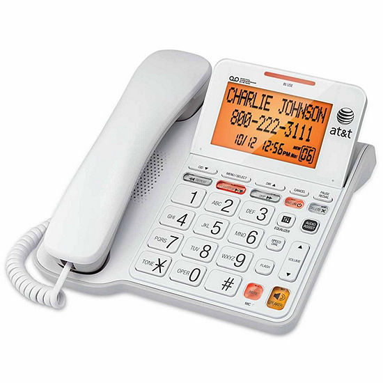 AT&T CL4940 Corded Answering System with Backlit Display - White
