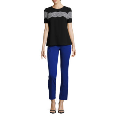 jcpenney.com | Worthington Short Sleeve Lace Trim Blouse and Slim Fit Ankle Pants