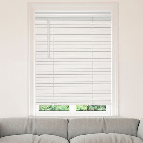 """JCPenney Home™ Cut-to-Width 2"""" Cordless Faux-Wood Horizontal Blinds"""