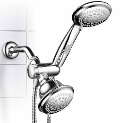 HotelSpa® Ultra-Luxury 42-Setting  3-Way Shower Combo with Patented ON/OFF Pause Switch and  5-7 Foot Stretchable Stainless Steel Hose / Premium Chrome