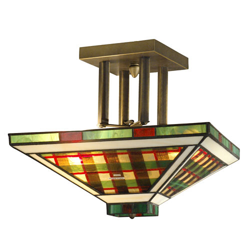 Dale Tiffany™ Green/Amber Flush Mount