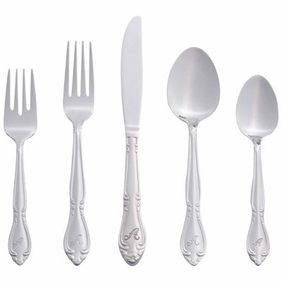 RiverRidge Rose 46PC Personalized  or SolidFlatware Set