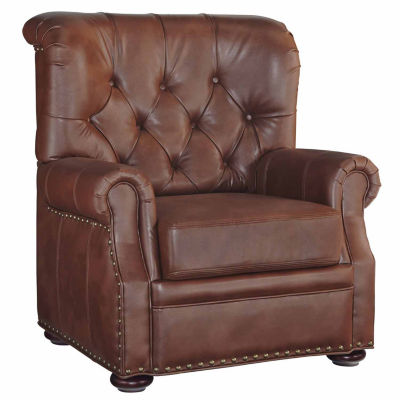 Miles Chair Faux Leather Roll-Arm Chair