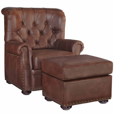 Miles Chair Ottoman Faux Leather Roll-Arm Chair