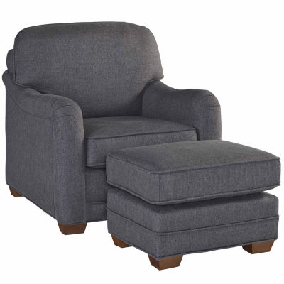 Megean Chair Ottoman Faux Leather Chair
