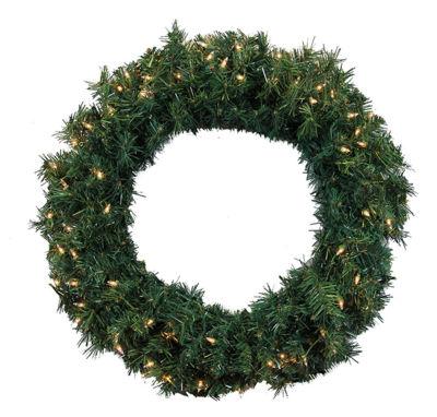 "24"" Pre-Lit Green Cedar Pine Artificial Christmas Wreath with Clear Lights"