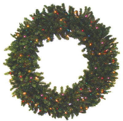 """24"""" Pre-Lit Battery Operated Canadian Pine Artificial Christmas Wreath with Multi-Color LED Lights"""