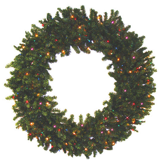 24 pre lit battery operated canadian pine artificial christmas wreath with multi color