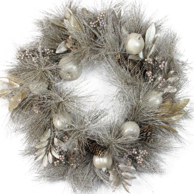 """24"""" Unlit Glitter Champagne Gold Pomegranate, Apple, Pine Cone and Berry Christmas Wreath"""