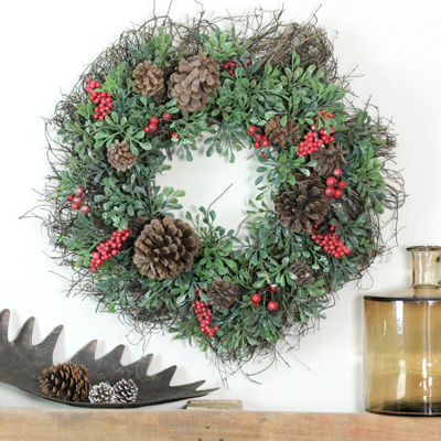 "24"" Unlit Glittered Artificial Boxwood, Pine Cone and Red Berry Christmas Wreath"