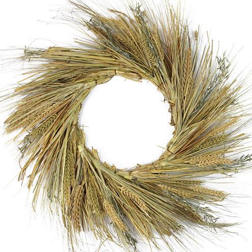 "22"" Unlit Autumn Harvest Wheat, Grass and Grapevine Thanksgiving Fall Wreath"
