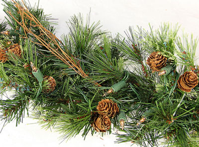 Vickerman 6' Mixed Country Pine Christmas Swag Garland with 70 Clear Lights