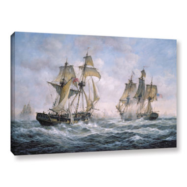Brushstone Action Between U.S. Sloop-Of-War 'Wasp'And H.M. Brig-Of-War 'Frolic'; 1812 Gallery Wrapped Canvas Wall Art