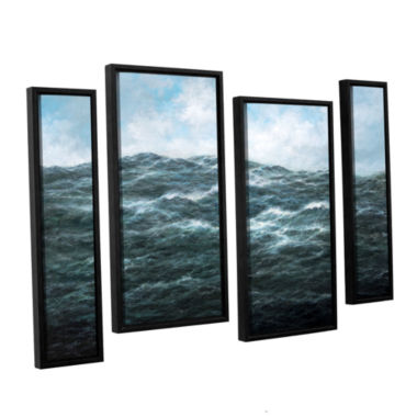 Brushstone Atlantic Ocean 4-pc. Floater Framed Staggered Canvas Wall Art