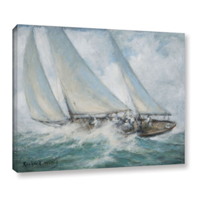 Brushstone Classic Yacht - 'Twixt Wind And Water'Gallery Wrapped Canvas Wall Art