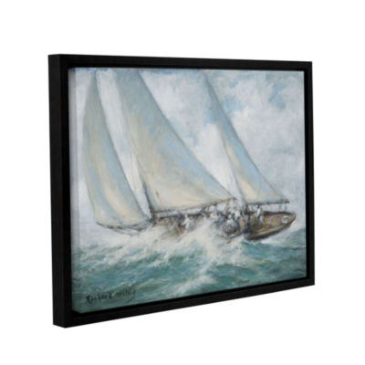 Brushstone Classic Yacht - 'Twixt Wind And Water'Gallery Wrapped Floater-Framed Canvas Wall Art