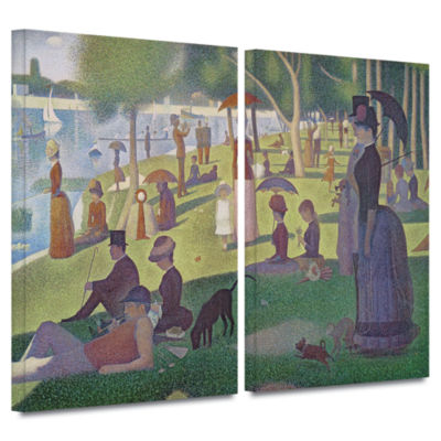 Brushstone A Sunday Afternoon On The Island of LaGrande Jatte 2-pc. Gallery Wrapped Canvas Wall Art