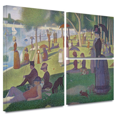 Brushstone A Sunday Afternoon On The Island of LaGrande Jatte 3-pc. Flag Gallery Wrapped Canvas Wall Art