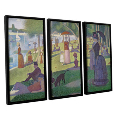 Brushstone A Sunday Afternoon On The Island of LaGrande Jatte 3-pc. Floater Framed Canvas Wall Art