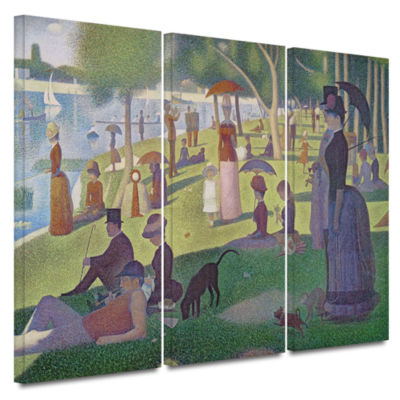 Brushstone A Sunday Afternoon On The Island of LaGrande Jatte 3-pc. Gallery Wrapped Canvas Wall Art