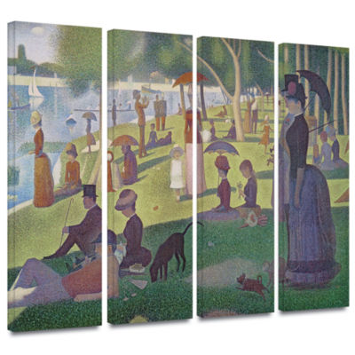 Brushstone A Sunday Afternoon On The Island of LaGrande Jatte 4-pc. Gallery Wrapped Canvas Wall Art